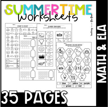 NO PREP Summer ELA & Math Worksheets