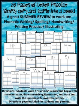 NO PREP Summer / End of Year Alphabet ABC Writing Book - Pre-k Kindergarten