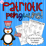NO PREP Summer Speech Therapy - Patriotic Penguins!