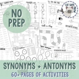 Synonyms and Antonyms Pack: NO PREP (3 Levels of Difficulty)