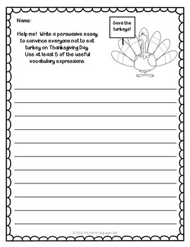 Thanksgiving NO PREP Writing Literacy Activities, Games, Craftivities