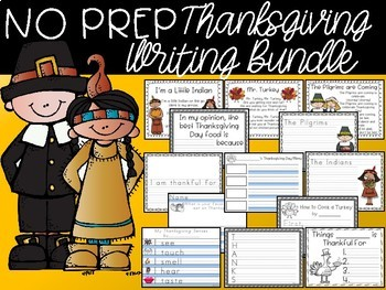 NO PREP Thanksgiving Day Writing Bundle - 30 pages K 1 2