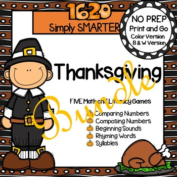 NO PREP Thanksgiving Themed Math and Literacy Games Bundle