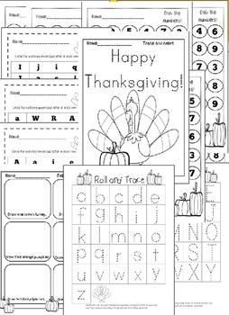 NO PREP Thanksgiving Math and Literacy Preschool Worksheets