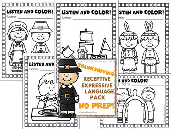 NO PREP Thanksgiving Speech Therapy - Receptive & Expressive Language Pack