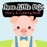 NO PREP! Three Little Pigs Tales Story and Coloring Book