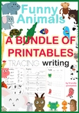 NO PREP Trace and write animal words - activities with fun