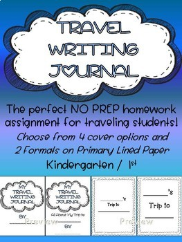 NO PREP Travel Writing Journal - Traveling Student Assignment or Summer Writing