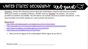 NO PREP United States Geography Web Quest