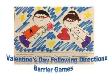 NO PREP Valentine's Day Following Directions and Expressive Vocabulary Activity