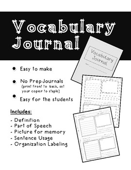 NO PREP Vocabulary Journal Booklet