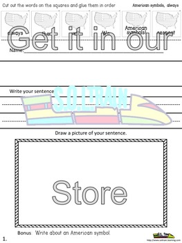 NO PREP July Cut and Paste Word of the Day Printables