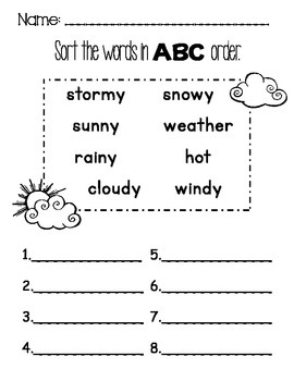 NO PREP Weather Math and Literacy Activities Sample