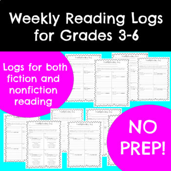 NO PREP Weekly Reading Logs for Grades 3-6