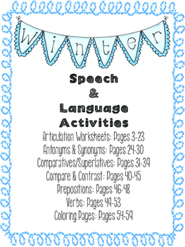 NO-PREP Winter Speech and Language Activities