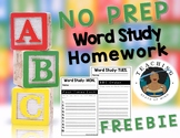 NO PREP Word Study Homework FREEBIE
