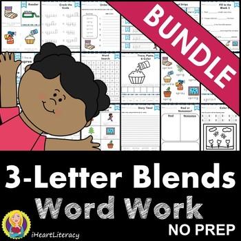 Word Work Three Letter Blends Bundle Consonant Blends NO PREP
