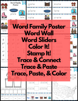 Word Work ate Word Family Long A FREE NO PREP