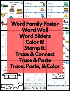 ay Word Family Word Work and Activities - Long A