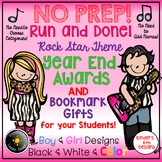 NO PREP Year End Awards. Rock & Roll Theme, 1-6, Boy & Girl Designs. Color & B/W