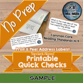 NO PREP Printable Reading Quick Check FREEBIE - Reading Anchor Standard One