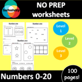 NO PREP worksheets: Adapted Numbers 0-20 - Level 1, Level