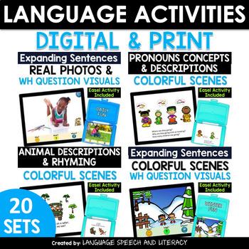 Ebooks - 18 FUN Language Activities Bundle,  No Print - Teletherapy