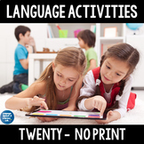 *No Print 20  Fun Speech & Language Activities for Speech Therapy