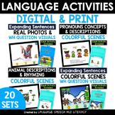 *No Print 20  Fun Speech & Language Activities for Speech Therapy
