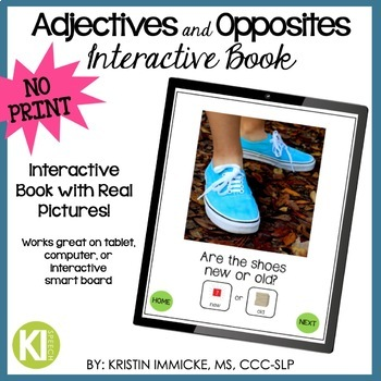 NO PRINT Adjectives & Opposites Interactive Book for Speech Language Therapy