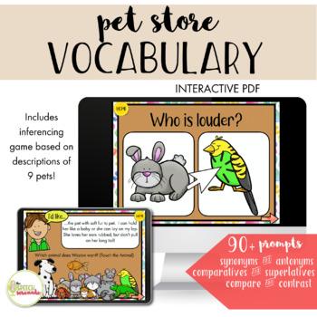 NO PRINT All About Pets Language Unit II - Pet Shop Vocab & Inferences