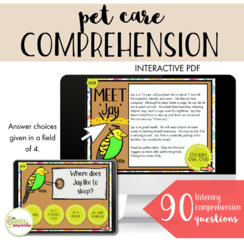 NO PRINT All About Pets Language Unit I - WH Questions