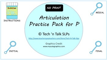 NO PRINT Articulation Practice Pack for P