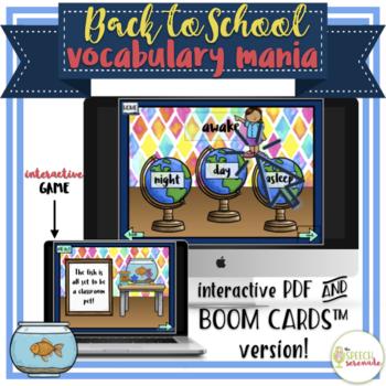 NO PRINT Back to School Vocabulary Mania