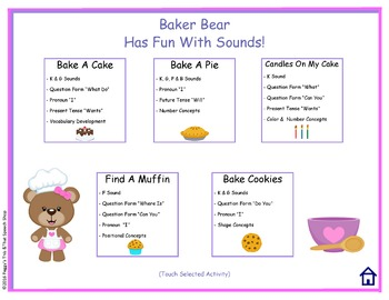 NO PRINT Baker Bear Has Fun With Sounds  K, G, F, P, B Interactive Stories