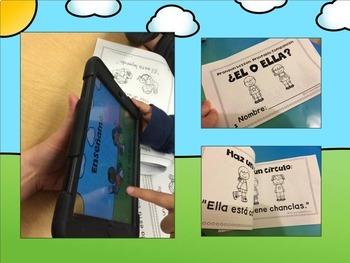 ¿Él o Ella? Pronoun NO PRINT w/ Printable Mini-Book - Spanish Speech Therapy