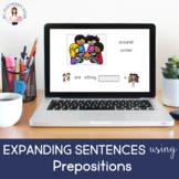 #boomlove Expanding Sentences using Prepositions (No Print) (Boom Card Lesson)