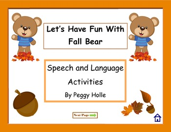 NO PRINT Fun With Fall Bear Speech Sounds F S & Language A