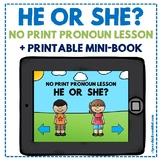 NO PRINT - He or She? - Pronoun Mini-Lesson with Printable Mini-Book