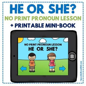 NO PRINT - He or She? - Pronoun Mini-Lesson with Printable