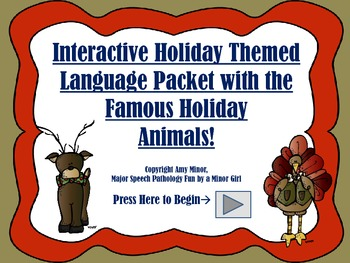 NO PRINT! Interactive Language Packet with Holiday Themed Animals