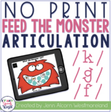 NO PRINT K, G, F Articulation Monsters for Speech Therapy