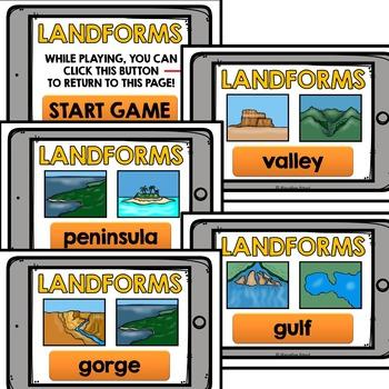 LANDFORMS ACTIVITIES: NO PRINT LANDFORMS INTERACTIVE ACTIVITY: LANDFORMS GAME