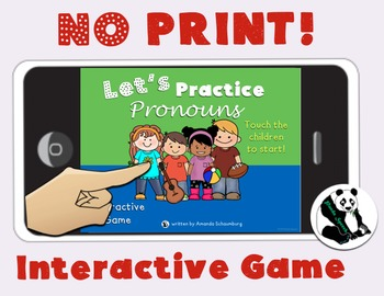 NO-PRINT Let's Learn About Pronouns: Receptive Language Interactive Game