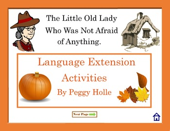 NO PRINT Little Old Lady Who Wasn't Afraid Of Anything Fall Language Activities