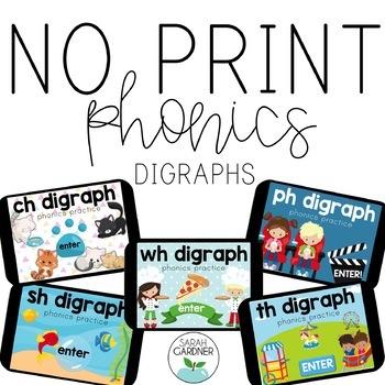 NO PRINT Phonics - Digraph Interactive PDF BUNDLE