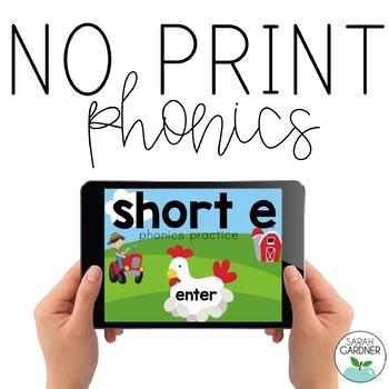 NO PRINT Phonics - Short E Interactive PDF