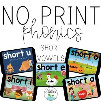 NO PRINT Phonics - Short Vowel Interactive PDF BUNDLE