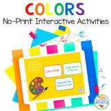 NO PRINT Preschool Language Speech Therapy Kit: Colors (Di