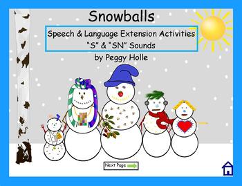 "NO PRINT Snowballs Interactive Book Companion Winter Speech & Language ""S & SN"""